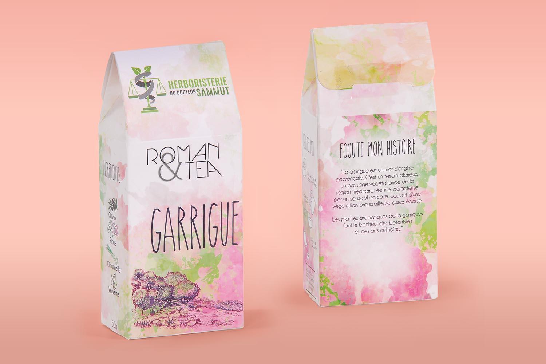 Packshots avant et arrière du thé Garrigue