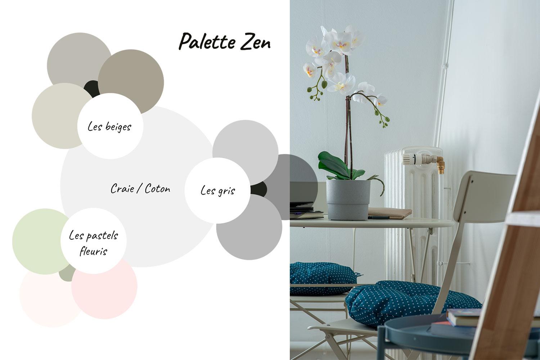Palette de couleurs zen et photo de la table et des chaises