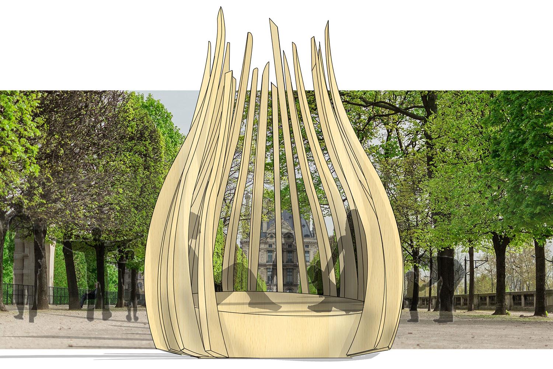 Concept au milieu de arbres
